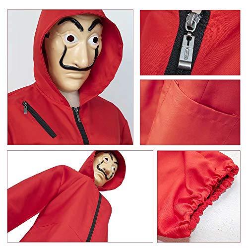 Cosplay de niños adultos Traje de La Casa De Papel Dali Dali Rojo One Piece traje de máscara de traje rojo grande/disfraz de Halloween/fiesta de ...
