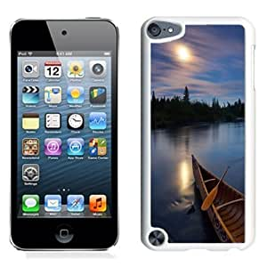 NEW Unique Custom Designed iPod Touch 5 Phone Case With River Boat Sunset Silky Water_White Phone Case