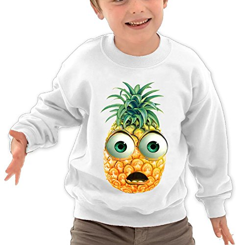 Price comparison product image Puppylol Astonished Pineapple Kids Classic Crew-neck Pullover Hoodie White 5-6 Toddler