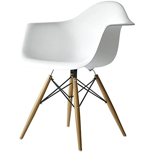 Charmant Amazon.com   2xhome White Plastic Chair Arm Chair Eiffel With Natural Wood  Legs   Chairs
