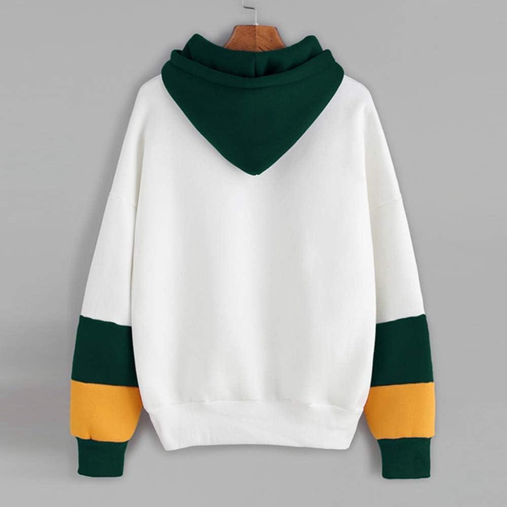 Womens Teen Girls Long Sleeve Hoodie Sweatshirts Floral Print Patchwork Casual Loose Pullover Tops