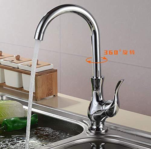 Upgraded Version Modern 360 Degree Swivel Kitchen Sink Mixer Tap, Monobloc Single Handle Kitchen Taps Mixer Chrome, Copper Faucet ()