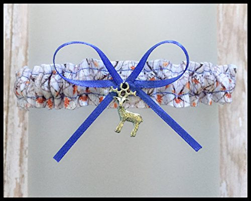 Sexy Camouflage White AP Royal Blue Satin Toss Demi Garter - Deer Charm by Bella Supply Boutique