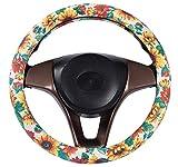Sunflower Wheel Cover Women Handmade Cute Flower 38cm/15 inch Car Steering Wheel Cover for Car/Truck/SUV (Sunshine Flower)