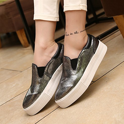 Enllerviid Femmes Haute Plate-forme Slip Sur Les Baskets De Mode Bas Top Toe Casual Mocassins Chaussures 163 Argent