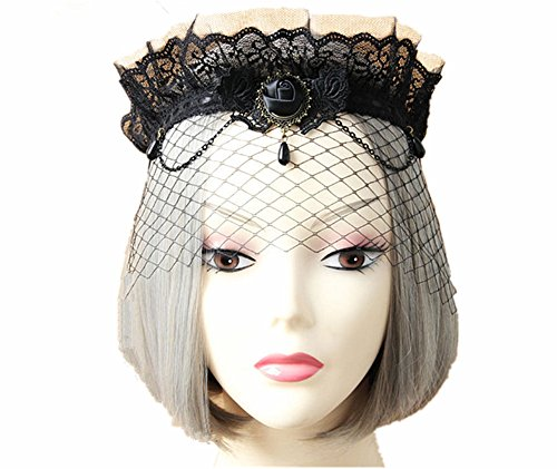 Sunling SL Victorian Gothic Mask Headband Choker Necklace Bracelet Costume Wing (Dead Angel Halloween Costume)