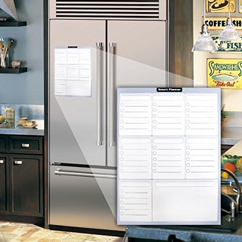 Pizarra Magnética Planificador Semanal de Comidas | Lista de Compras | Calendario de Refrigerador Para Adultos y Niños | Organizador Para Anotar Exámenes y Reuniones | Fácil de Escribir y Limpiar: Amazon.es: