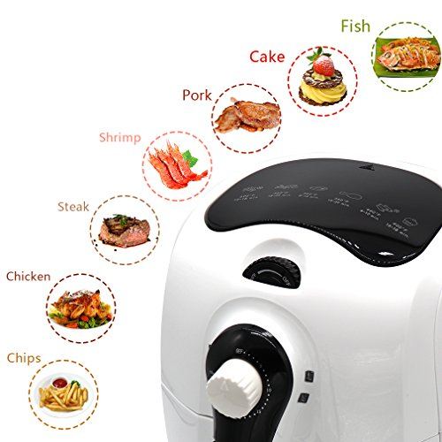 Nattork Air Fryer Hot Air Fryer 3.7 QT Oil-Free 1400 Watts Electric Air Fryer Cooker with airfryer cookbooks For Fast Healthier Oil Free Cooking white01
