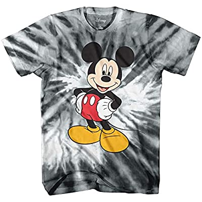 Disney Mickey Mouse Funny Graphic Tee Classic Vintage Disneyland World Mens Adult T-Shirt Apparel (Large, Black White Tie Dye)