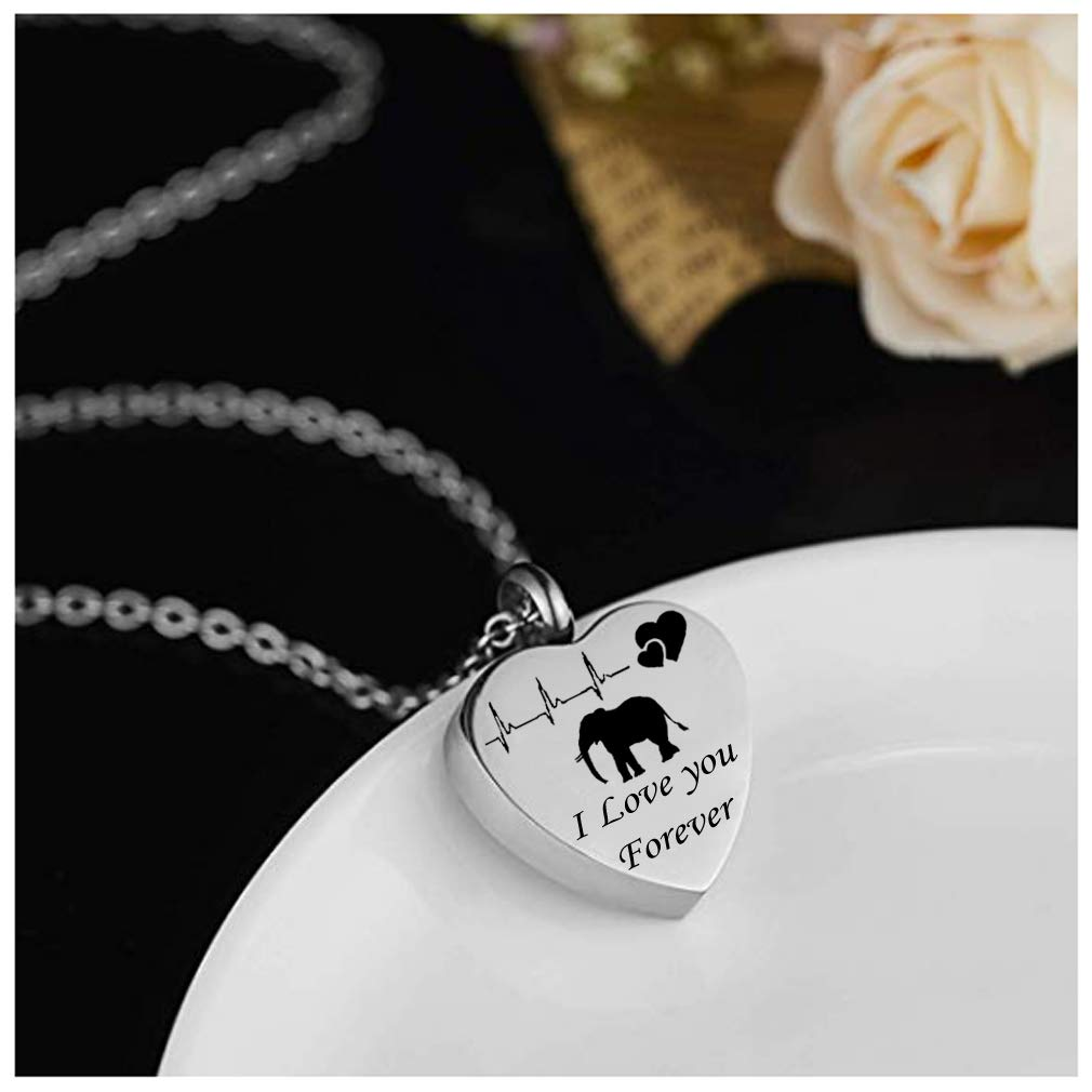 Keepsake Necklace for Pet Cremation Jewelry for Ashes Elephant Memorial Pendant with Stainless Steel