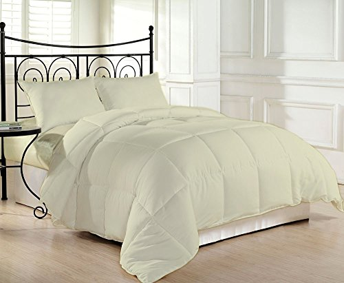 1000 TC Luxurious and Hypoallergenic 100% Egyptian Cotton Comforter Ivory Queen By Kotton Culture Solid (Cocoon Feel 400 GSM Medium Weight (Warm Comforter) Microfibre filling)