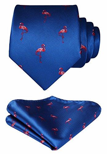 Set Tie Wedding Necktie amp; Party HISDERN Square Animal Patterns Blue Handkerchief Pocket Men's POHwRUI