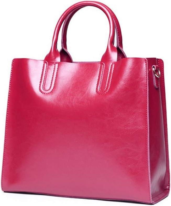 SJJOZZ Bolsa portátil de Cuero for Las Mujeres de Hombro del Bolso de Mano Grande Trabajo con Acolchado Compartimiento (Dark Brown) (Color : Red) Rose Red