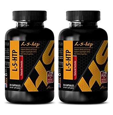 Anxiety relief vitamins - L-5-HTP - 5 htp extra strength - 2 Bottles 60 Capsules