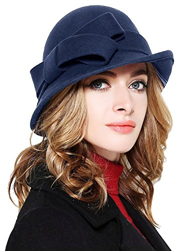 Bellady Women Solid Color Winter Hat 100% Wool Cloche Bucket with Bow ()