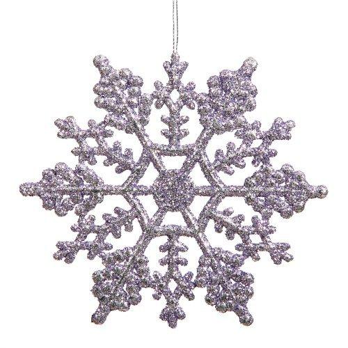 Vickerman Lavender Glitter Snowflake with 24 Per PVC Box, 4-Inch
