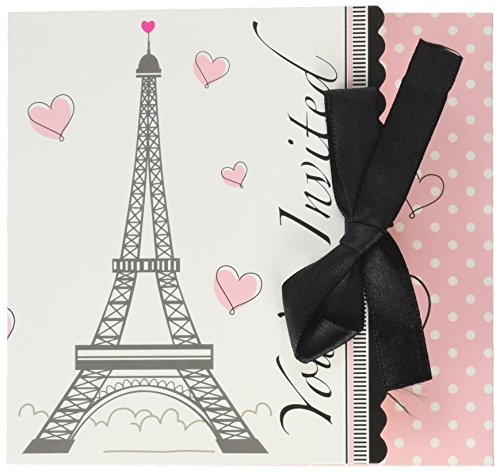 Creative Converting 895584 8-Count Invitations, Party in Paris, 4.5 x 5-Inches,