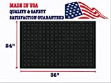 Large Front Doormat - Waterproof Indoor Outdoor Rug MADE IN USA Absorbent Non Slip Carpet Mat -Washable Entryway Doormat -24 x 36 Black Low Profile Entrance Doormat