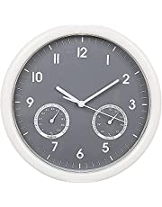 Buumin 10-inch Wall Clock, Home Hanging Simple Wall Clock Includes a Thermometer and Hygrometer and is Ideal for Indoor and Outdoor Use