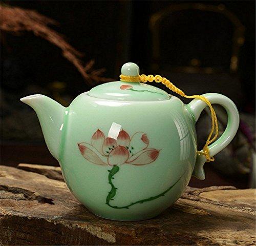 DELIFUR(TM) Celadon Handcrafted Porcelain Tea Set Lotus Theme Porcelain Tea Pot Covered Teacup Gongdao Cup From China (Tea pot)