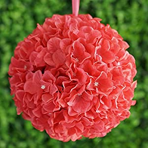BalsaCircle 4 pcs 7-Inch Hydrangea Kissing Flower Balls - Artificial Flowers Wedding Party Centerpieces Arrangements Bouquets Supplies 30
