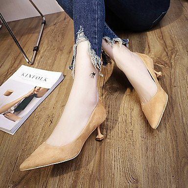 4in 5 5 Summer Khaki Casual Dress Black 3 1in US6 1 5 EU37 Women'sHeels Comfort PU Kitten Heel Spring 7 Comfort CN37 UK4 aR64wxtv4q