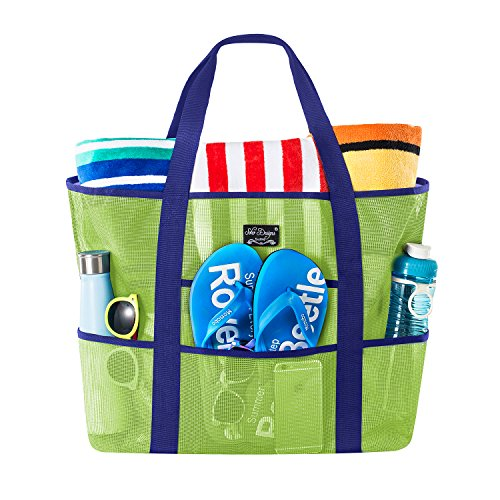 SoHo Collection, Mesh Beach Bag - Toy Tote Bag - Large Lightweight Market, Grocery & Picnic Tote with Oversized Pockets (Green/Blue) (Bugs Do Stink Come Where From)