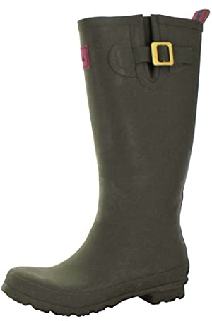 Joules Women's Field Welly Rain Boot, Olive, 8 M US