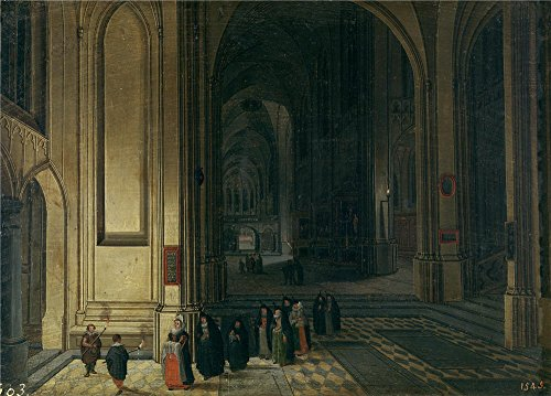 Oil Painting 'Neefs Pieter I Interior De Una Iglesia La Ofrenda', 12 x 17 inch / 30 x 43 cm , on High Definition HD canvas prints is for Gifts And Bath Room, Gym And Hallway Decoration