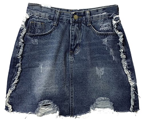 Sneeyid Women's High Waisted A-line Ripped Denim Skirt Destroyed Short Jeans Skirts