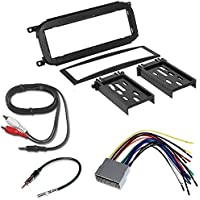 JEEP 2002 - 2004 GRAND CHEROKEE CAR RADIO STEREO CD PLAYER DASH INSTALL MOUNTING TRIM BEZEL PANEL KIT + HARNESS + RADIO HARNESS+ MINI TO RCA 6F CABLE