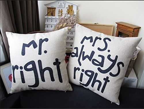 Mr. Right & Mrs. Always Right Throw Pillow Cover, 42cm, Set of 2 Covers, Great Wedding Gift