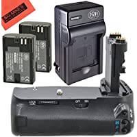 Battery Grip Kit for Canon EOS 70D, EOS 80D Digital SLR Camera Includes BG-E14 Replacement Battery Grip + Qty 2 BM Premium LP-E6N Batteries + Rapid AC/DC Charger