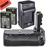 Battery Grip Kit for Canon EOS 6D Digital SLR Camera Includes Vertical Battery Grip + Qty 2 Replacement LP-E6 Batteries + Rapid AC/DC Charger