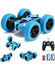 GLOWEE Remote Control Car, 4WD 2.4 Ghz High Speed Electric RC Stunt Car, 360° Double-Side Spinning & Tumbling, LED Headlight, Double Side Roll, Kids Toy Battery Car for Boys and Girls (Blue)