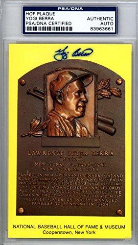 Yogi Berra Authentic Autographed Signed HOF Plaque Postcard #83963661 PSA/DNA Certified MLB Cut Signatures