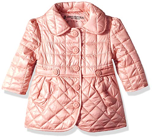 (Urban Republic Baby Girls Poly Quilted Thinfill Jacket, Rose Smoke, 18M)