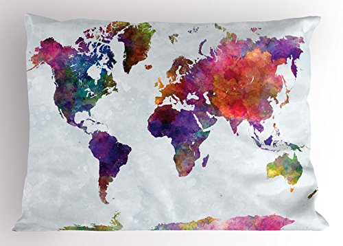 Ambesonne Watercolor Pillow Sham, Multicolored Hand Drawn World Map Asia Europe Africa America Geography Print, Decorative Standard Queen Size Printed Pillowcase, 30 X 20 inches, Multicolor by Ambesonne
