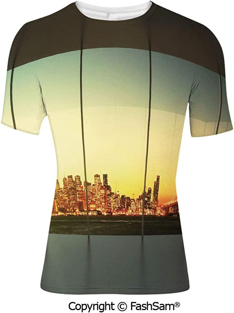 Fashion Printed T-Shirts Empty Loft Cityscape Apartment Buildings Industrial LAN