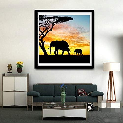 Elephant Animals Elephant Sunset Landscape WOWDECOR 5D Diamond Painting Kits Full Drill DIY Diamond Art Cross Stitch Paint by Numbers