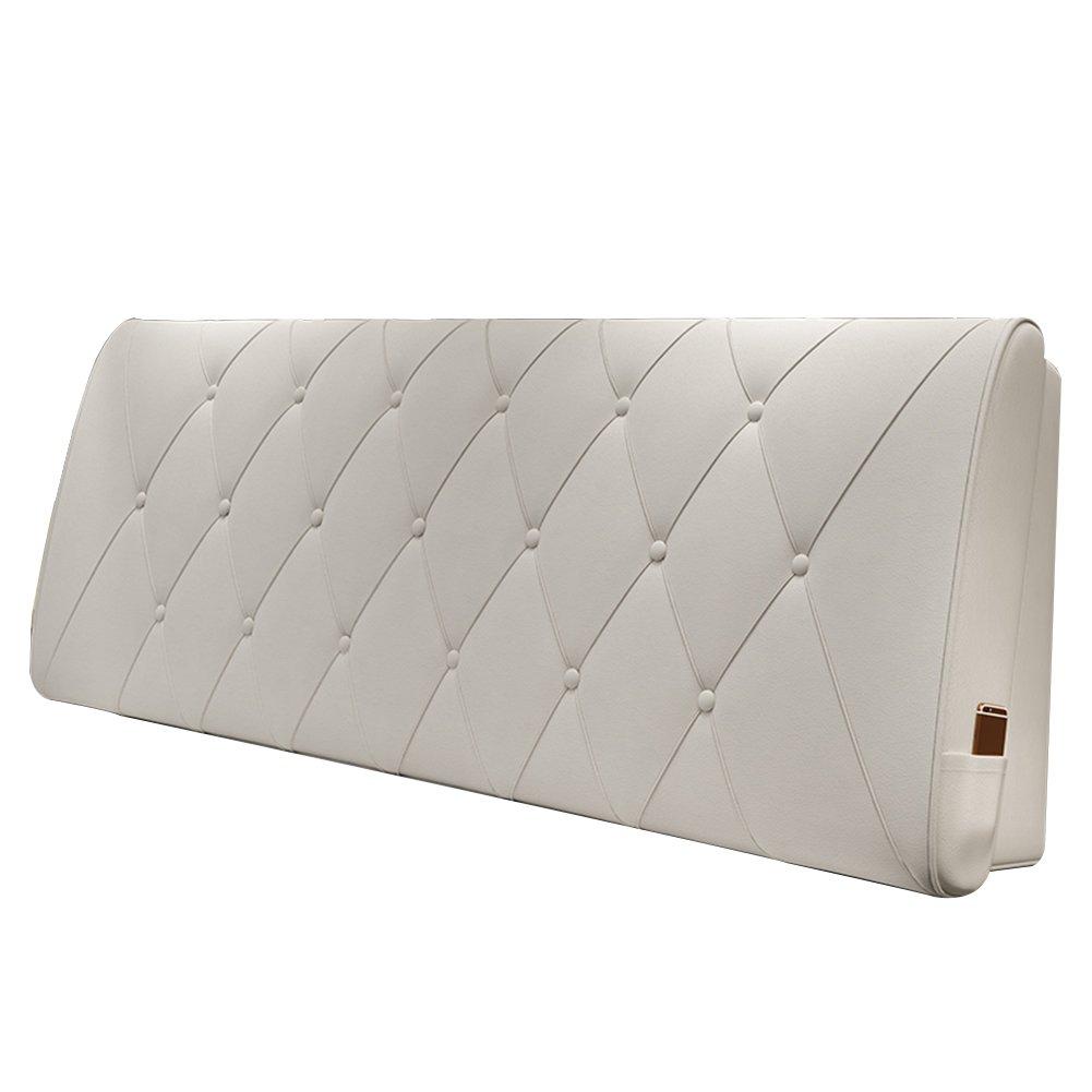 HAIPENG クッション ベッドの背もたれ ベッド バックレスト カバー ヘッドボード ベッドサイド クッション 布張り 枕 腰椎 パッド ソファー レザー リムーバブル、 10色、 マルチサイズ (色 : 白, サイズ さいず : 90x10x60cm) B07DNWPF16 90x10x60cm|白 白 90x10x60cm