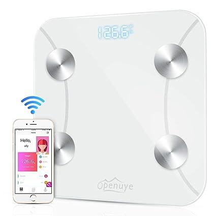 Báscula Grasa Corporal, Openuye Báscula de Baño Bluetooth Analizar Más de 8 Funciones, Monitores