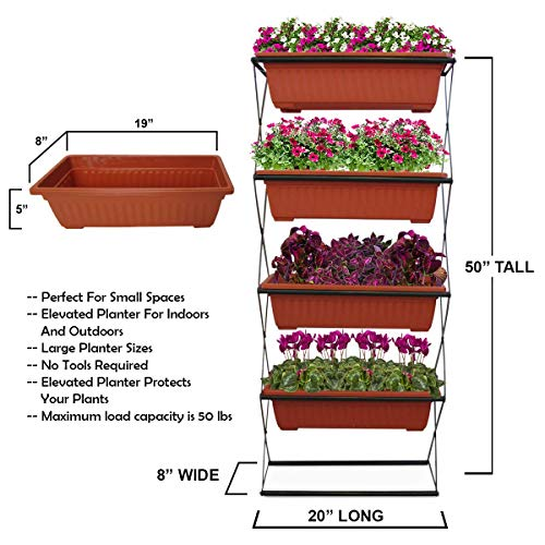 - PHOENIX VITAL LIFE Freestanding Elevated Garden Planter- 4 Raised Terracotta Plastic Planters - Vertical for Indoor/Outdoor- Deck, Patio, Balcony, 50 x 20 x 8 inches, Powder Coated Steel Green Frame