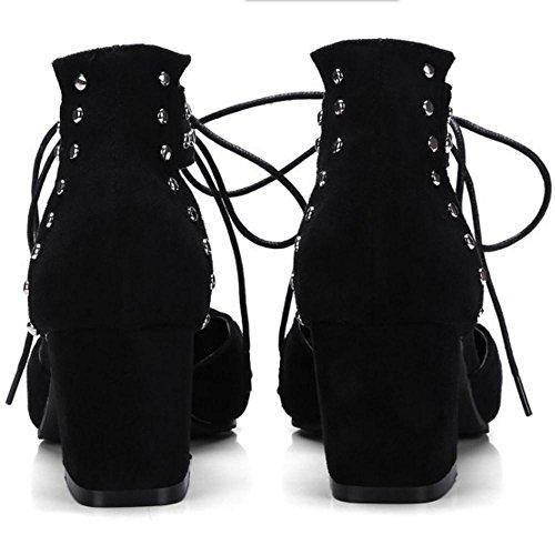Mode Lacets Femmes Black Talons Sandales TAOFFEN Bloc 0HaBqRW