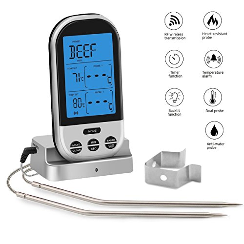 Wireless Meat Thermometer for Grilling - Digital LCD Cooking Food Thermometer with Dual Probes, Alarm Monitor for BBQ, Turkey, Baby Milk, Baking, Smoking, Kitchen, Indoor & Outdoor for $<!--$25.99-->