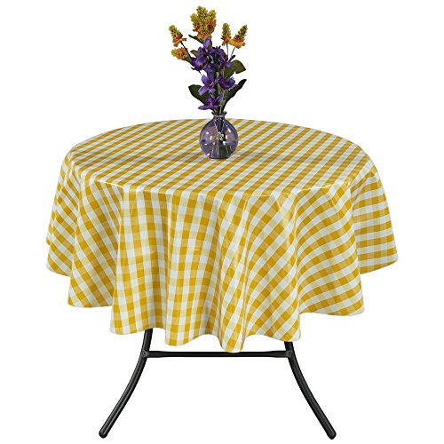 Ottomanson Vinyl Tablecloth Checkered Design Indoor & Outdoor Non-Woven Backing Tablecloth, 55