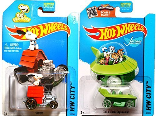 Hot Wheels Snoopy #59 & Jetsons #57 Peanuts & The Simpsons Tooned car set IN CASES 2015 (Simpsons Scale House)