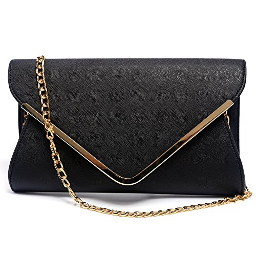 GESU Womens Faux Leather Envelope Clutch Bag Evening Handbag Shoulder Bag Wristlet Dress Purse, Black, Small ()