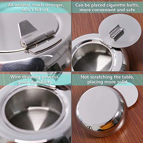 Windproof Ashtray with Lid Desktop Smoking Ash Tray for Home Office Decoration Newness Stainless Steel Modern Tabletop Ashtray for Outdoor or Indoor Use