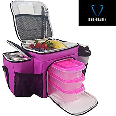Undeniable Meal Prep Bag - Portion Control Container Set, Resuable Ice Pack for Bodybuilding & Fitness Prep (pink)